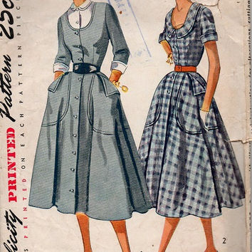 50s Simplicity Vintage Sewing Pattern Retro Swing Dress Rockabilly Fashion Full Skirt Fitted Bodice Dickey U Neck Large Pockets Bust 32