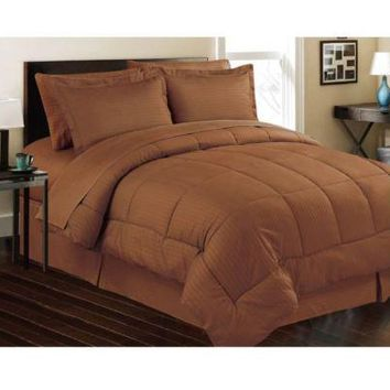 Chocolate Embossed 8 Piece Bed in a Bag Comforter Sheet Set Bedskirt Shams