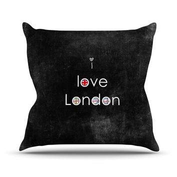 "Ingrid Beddoes ""I Love London"" Black Grundge Outdoor Throw Pillow"