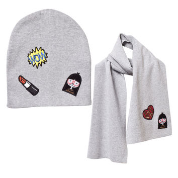 Little Marc Jacobs Girls Knitted Hat & Scarf Set With Patches
