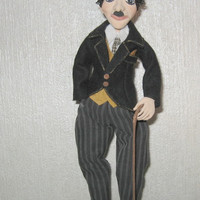 Interior doll-Paper clay-Charlie Chaplin-Collecting doll-OOAK Doll-OOAK other-Clay doll-Decorative doll-Art doll-Human figure doll-OOAK