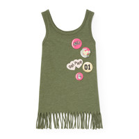 Girls Matchables Sleeveless Patch Graphic Fringe Tank Top | The Children's Place
