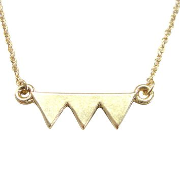 Gold Toned Geometric Three Triangle Design Pendant Necklace