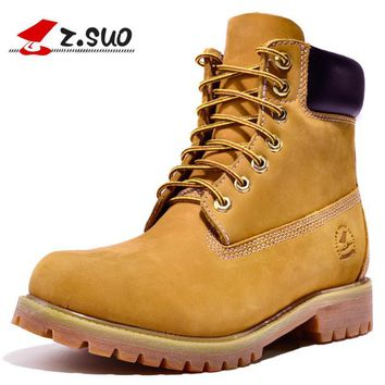 Z.Suo Original 2017 Fashion Men's Casual Boots Cow Leather Work Safety Boots Classic R
