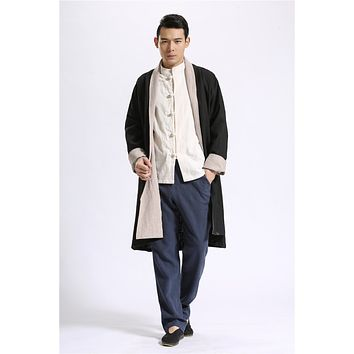 Chinese Style pure linen wind breaker raincoat mianyiwaitao jacket coat  reversible Trench Coat Men Overcoat plus size 6colors