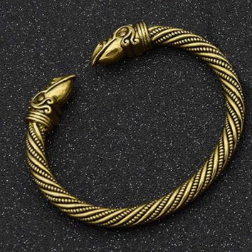 Antique Gold Silver Color Norse Viking Raven Opening Bangles Crow Head Bracelet & Bangle Jewelry Nordic Vikings Drop Shipping