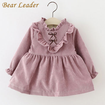 Bear Leader 2016Fashion Autumn Girls Dresses Long Sleeved Kids Dress Tutu Bow Ruffles Velvet Infants Dress Double Level Vestidos
