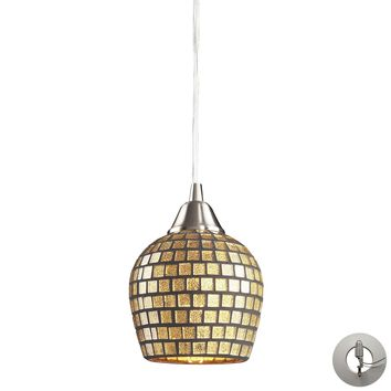 528-1GLD-LA Fusion 1 Light Pendant In Satin Nickel And Gold Leaf Glass - Includes Recessed Lighting Kit - Free Shipping!