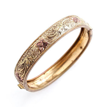Antique Gold Filled Hinged Bracelet -  Small Petite Baby  Art Nouveau Victorian Floral Vine Jewelry / Rose Gold Accents