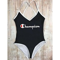 Champion Summer Fashion New Letter Print Straps One Piece Bikini Swimsuit