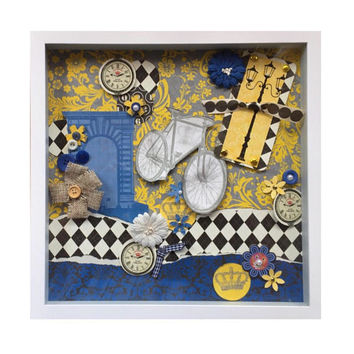 Mixed media collage art, Cottage Chic decor, Original Paris framed artwork, Vintage look paper collage, paper empherma, blue and yellow art