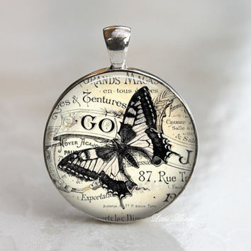Black butterfly glass necklace, retro print, insect keychain