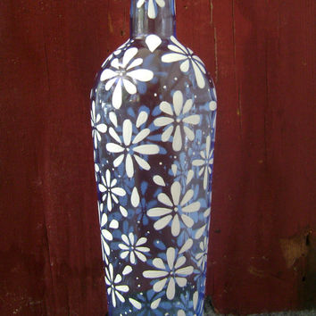 Daisy Vase: Upcycled & Hand Painted Bottle