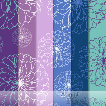 chrysanthemum clipart & digital paper set - flowers clipart - blue purple colors - commercial use digital elements download