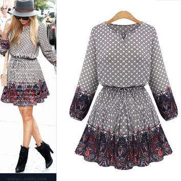 Long Sleeve Hot Sale Summer Print Dress Floral One Piece Dress [9371061575]