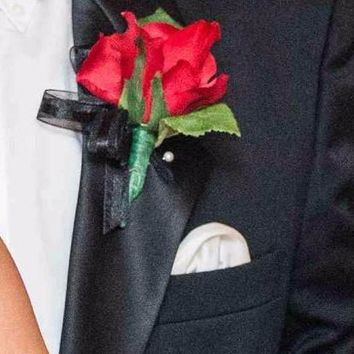 "Pack of 4 - Half Open Red Rose Boutonniere - 6"" Tall"