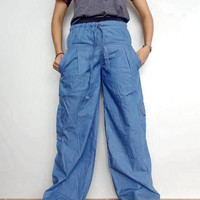 Free Headband Denim Cotton  Casual Harem pants, OOAK Drawstring Waist, lightweight Jeans (pants-P042).