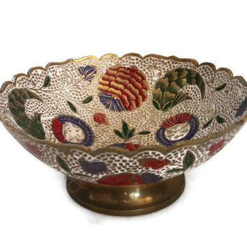 Vintage BRASS bowl, enamel, centerpiece, PEDESTAL - Red & green enameled - Hand painted white - Decorative footed dish, Unique tableware