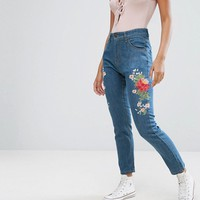 PrettyLittleThing Embroidered Denim Jeans at asos.com