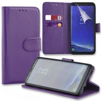 Connect Zone® Purple PU Leather Wallet Flip Case Cover for Samsung Galaxy A6 2018 with Screen Guard, Polishing Cloth