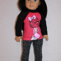 18 inch doll clothes, pink and black graphic print shirt, grey and black floral leggings, american girl ,maplelea