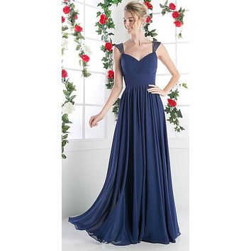 Beaded Cap Sleeves Sweetheart Bridesmaid Dress Navy Blue Chiffon