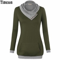 Timeson 2017 New Style Women Cowl Neck Knitted Pullover Long Sleeve Hoodies Sweatshirt Sudaderas Mujer Clothing With Pocket