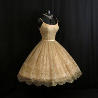 Vintage 1950's 50s Champagne Peach Floral Flocked Chiffon Organza Satin Party Prom Wedding Dress