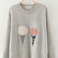 Gray Ice-Cream Cone Soft Cropped Sweater