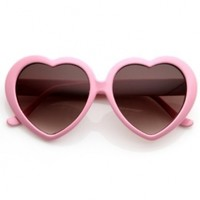 zeroUV - Large Oversized Womens Heart Shaped Sunglasses Cute Love Fashion Eyewear (Light Pink)