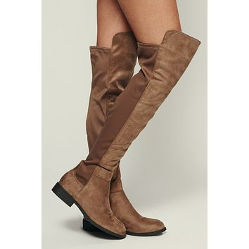 Envious Faux Suede Boots (Taupe)