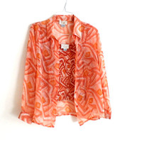 Collared Blouse and Tank set, Peach Abstract Geometric Print, Button Down Collared Shirt with plisse Tank, Sheer top, Long sleeve, Size L