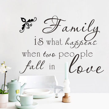 Family is what happen two people fall in Love Wall stickers decals Art Home Bedroom Living Room Decoration Wall Mural Poster SM6