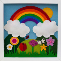 Rainbow and spring flowers felt picture for children's room or nursery. Will fit 22 x 22cm box frame or made to dimensions of your choosing.