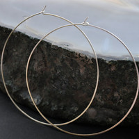 Extra Large Silver Hoops, Thin Hoop Wire Earrings, Sterling