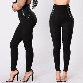Women Pants Fitness Stretch High Waist Slim Casual Lace Up Pants Bandage Trousers Women Clothing Female Apparel