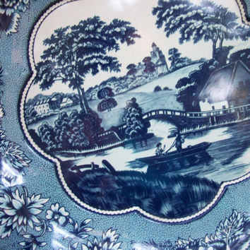 Vintage 1970's Daher Decorated Ware Blue and White Metal Bowl with Country Scene