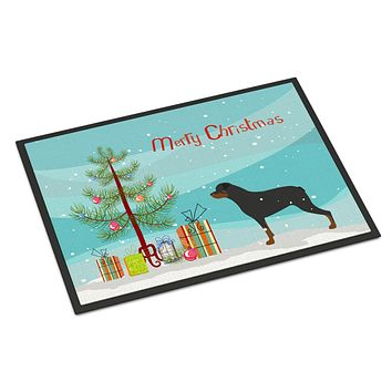 Rottweiler Merry Christmas Tree Indoor or Outdoor Mat 24x36 BB2984JMAT