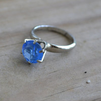 """Beautiful sterling antique art deco sterling silver rhodium plate solitaire engagement ring with rhinestone paste """"sapphire"""" gem hallmarked"""