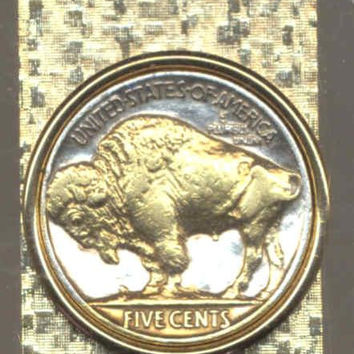 2-Toned Gold on Silver, Old  U.S. Buffalo nickel (Hinged) Money clips