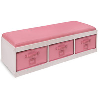 White Kid's Storage Bench with Pink Bins | Overstock.com Shopping - The Best Deals on Storage & Organization