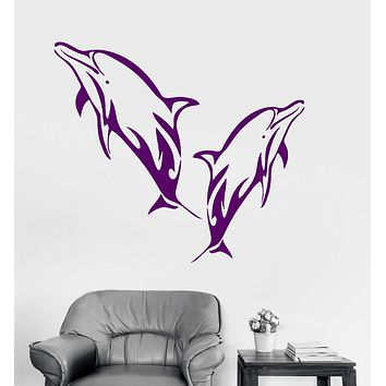 Vinyl Wall Decal Dolphins Marine Decor Bathroom Art Ocean Stickers Unique Gift (ig3201)