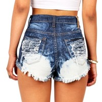 Blotched High Waist Shorts | Denim Shorts at Pink Ice