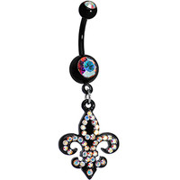 Aurora Gem Black Glimmering Fleur de Lis Dangle Belly Ring | Body Candy Body Jewelry