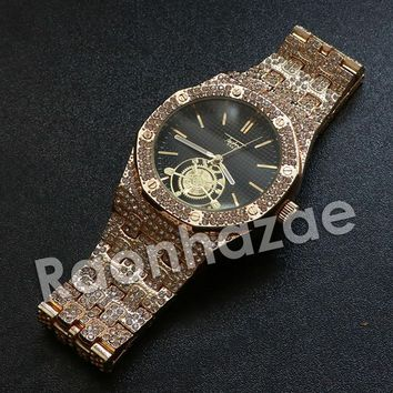 Iced Out Hip Hop Gold Techno Pave Dark Face Wrist Watch