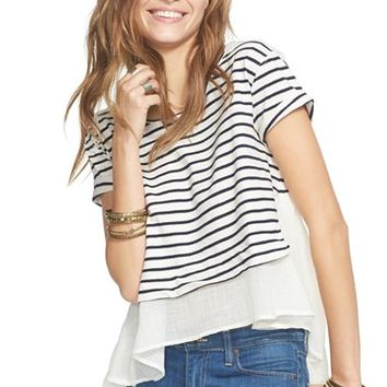 Women's Free People 'French Kiss' Stripe Mixed Media Tee,