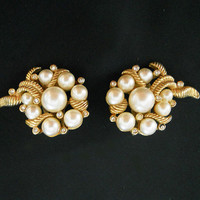 Vintage 60s Marvella Clip On Earrings with Pearls and Rhinestones - 1960s