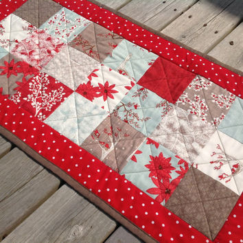 Winter decor tablerunner with birds and trees in red, aqua, brown cream