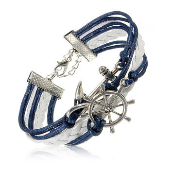 Multilayer Leather Anchor Rudder Infinite Bracelet