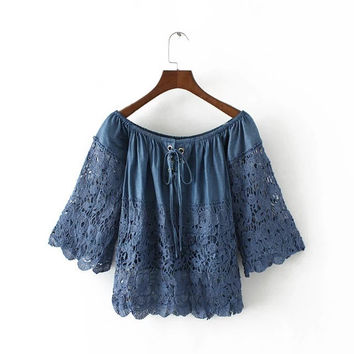 Lolita Casual Camicia Donna Tunic Chemise Femme Embroidery Lace Denim Blue Cotton Shirt Women Off Shoulder Blouses Ladies Tops